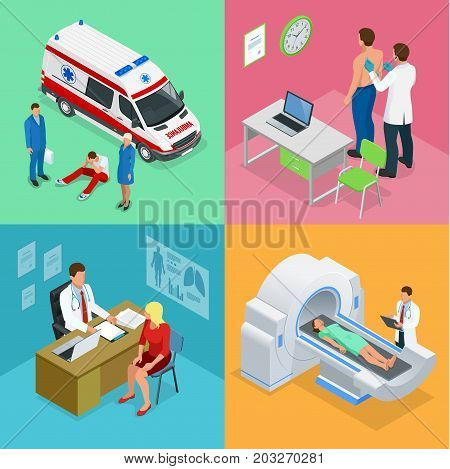 Isometric Paramedics ambulance team with ambulance car. Male doctor examining a patient with a stethoscope at the hospital. Magnetic resonance imaging MRI of the body. Medicine diagnostic concept.