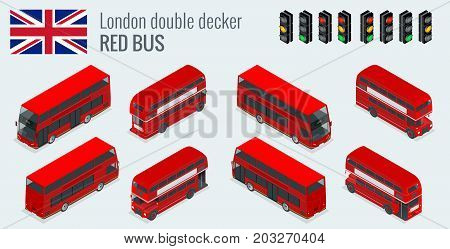 Isometric set of London double decker Red bus. United Kingdom vehicle icon set. 3D flat vector illustration.
