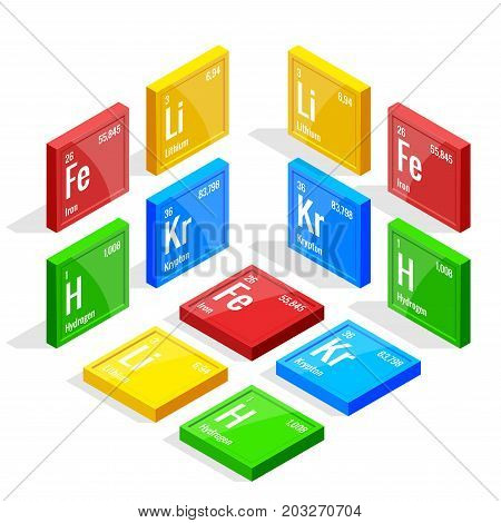 Isometric set of elements of the periodic table Mendeleev s Periodic Table. Vector illustration lithium, iron, krypton, hydrogen.