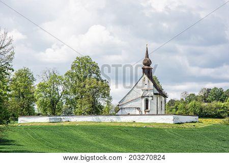 Chapel of Our Mother God near Veveri castle Moravia Czech republic. Religious architecture. Travel destination.