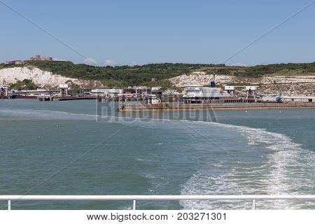 View at English coast from ship leaving the harbor of Dover