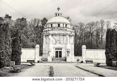 Mausoleum of The Andrassy family near castle Krasna Horka Slovak republic. Memorial architecture. Black and white photo.