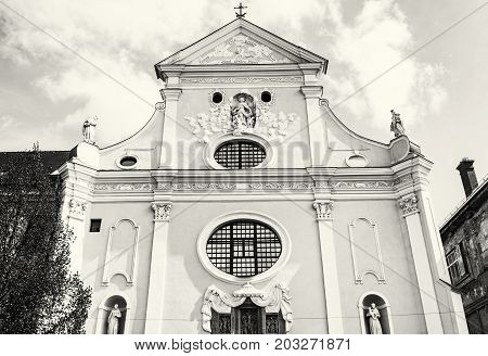 St. Anthony of Padua church Kosice Slovak republic. Religious architecture. Black and white photo.