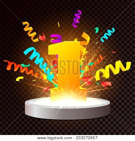 Golden number One on Illuminated stage. Vector Podium on transparent background with colorful confetti explosion and light effects and particles. First place award. 1st year anniversary celebration