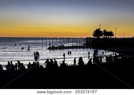 Sunset Scene At Beach, Montevideo, Uruguay