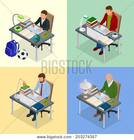 Four isometric pictures on the subject of training. A boy, teenager, man, old man sits at a table with books and writes Scientist, teacher and student. Homework or Lesson Isolated on white background