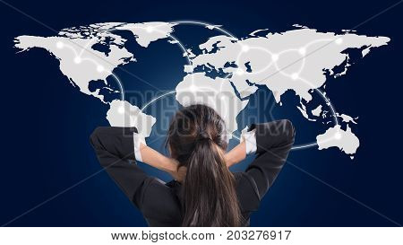 Portrait of young woman communicaton network world. Elements of this image furnished by NASA