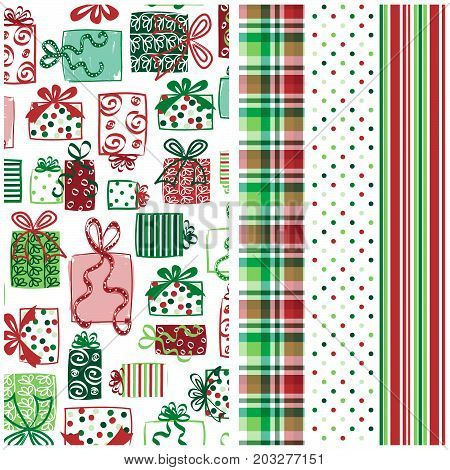 Holiday pattern with coordinating plaid, polka dots and stripes. Seamless patterns for digital paper, scrapbooking, cards, invitations, announcements, gift wrap, backgrounds, borders, and more.