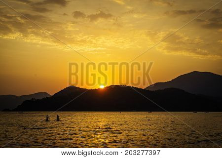 Sea and beach at sunset. Turkey, Oludeniz