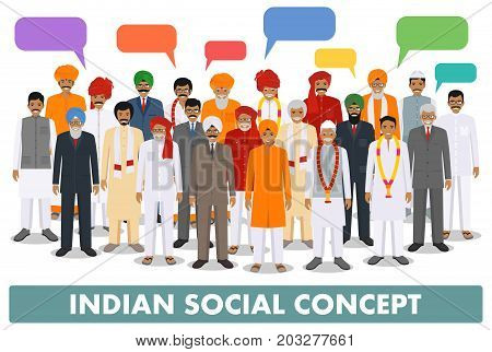 Indian man and speech bubbles standing together in different traditional clothes on white background in flat style. Different dress styles. Flat design people characters. Family and social concept.