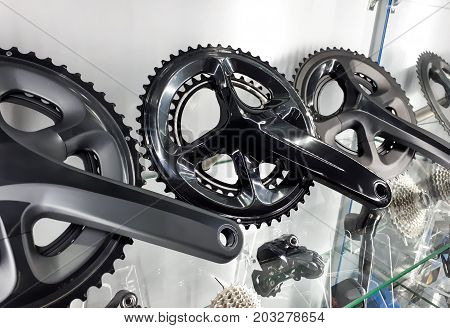 Bicycle crank and rear cassette for road bike cycling / Cycling accessories concept