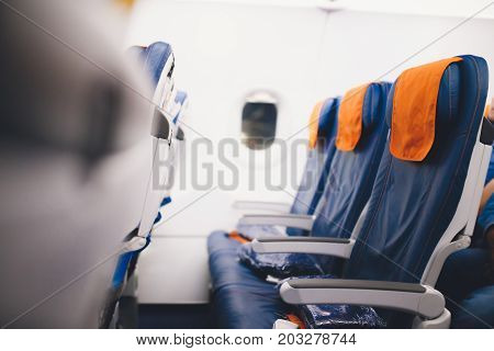 Interior of Airplane seats in cabin economy class