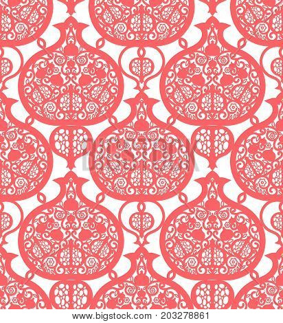 Seamless pattern with pomegranates. Ancient lacy ornament is a symbol of fertility. Texture for scrapbooking, wrapping paper textile web page textile wallpaper surface design fashion