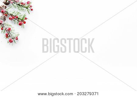 decorate christmas tree for new year celebration with fur tree branches on white table background top veiw mockup