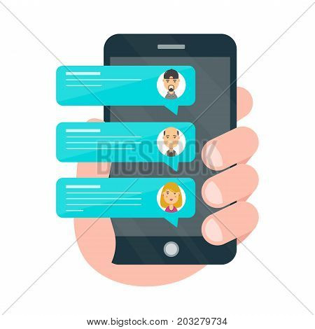 Incoming Messages from friends on smartphone screen.One hand holds smartphone. Vector cartoon character illustration icon male avatar design.Isolated on white background. Notification of new messages