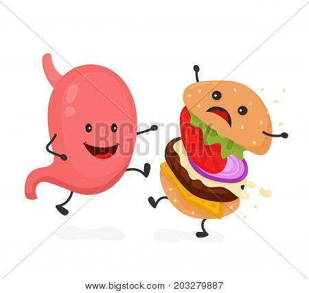 Happy smile strong stomach kick burger, hamburger. Vector modern flat style cartoon character illustration icon design.Isolated on white background. Healthy food against unhealthy fast food.Nutrition