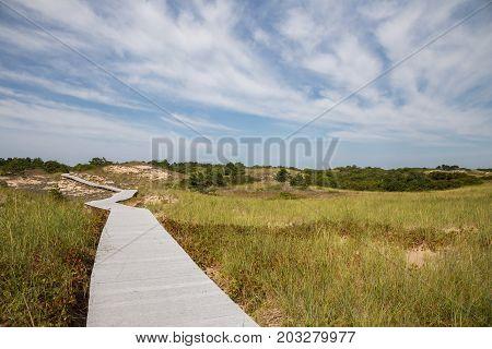 Parker River National Wildlife Refuge on Plum Island in Newburyport MA. Boardwalk to the ocean.