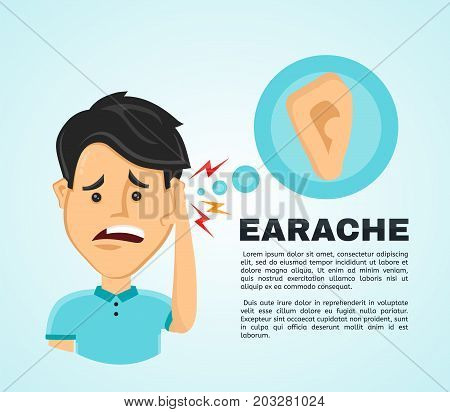 Vector illustration flat man with a earache. Frustrated young man touching his ear and feel aching. Pain in the human body, ear ache, otitis concept