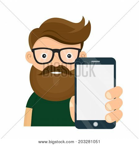 Young hipster person holding smartphone mobile. vector cartoon flat design character illustration. Isolated on white background. Business smartphone phone presentation concept