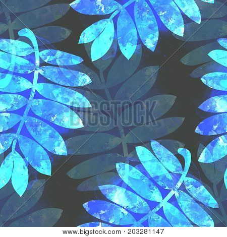 Hand drawn watercolor luminous blue rowan leaves on dark background. Fantasy seamless pattern.