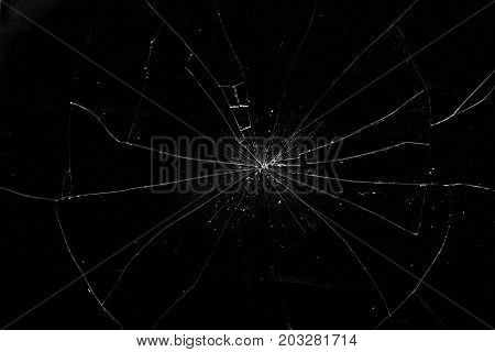 Close-up Of Cracked Glass Of Display Screen