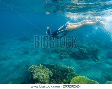 Woman swimming in blue sea. Snorkeling girl in full-face snorkeling mask. Warm shallow sea water coral reef. Underwater photo of oceanic landscape. Active seaside vacation. Water sport in tropical sea