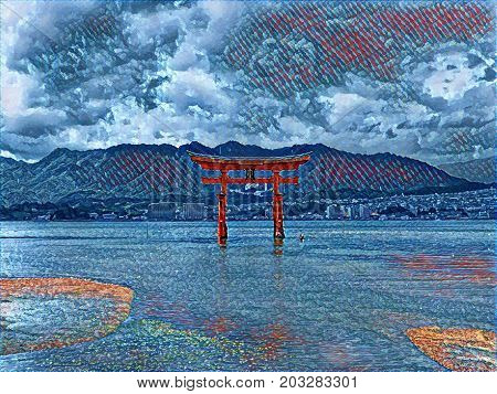 Digital painting of the floating tori gate at Miyajima Island near Hiroshima in Japan. Tranquil picture looks like patchwork in various shades of blue with space for text.