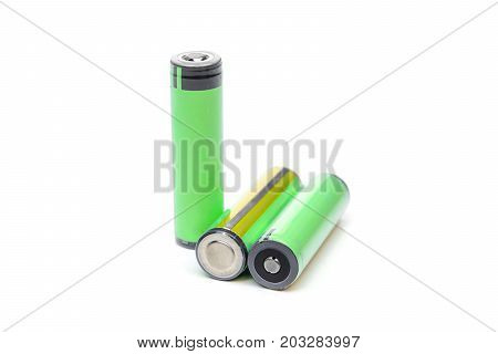 Green rechargeable battery isolated on white background