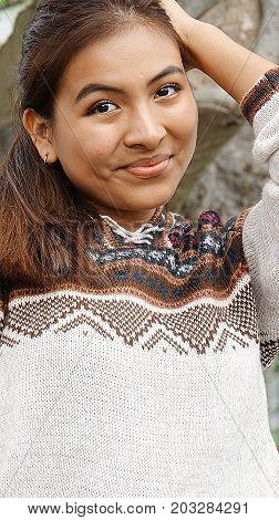 Hispanic Diverse Person Wearing a Peruvian Sweater