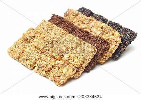 Closeup of multigrain bars / Healthy food and snack concept