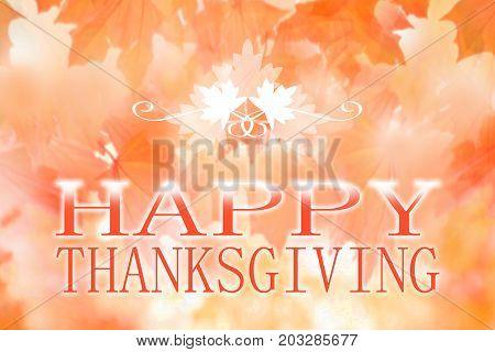 Happy Thanksgiving banner on autumn blur background
