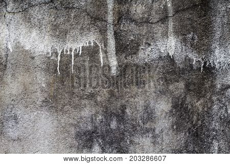 Rustic and old grey concrete wall photo texture. Shabby chic backdrop. Old concrete surface with drips and dirt. Distressed texture in gray shades. Obsolete concrete floor top view photo. Grey asphalt