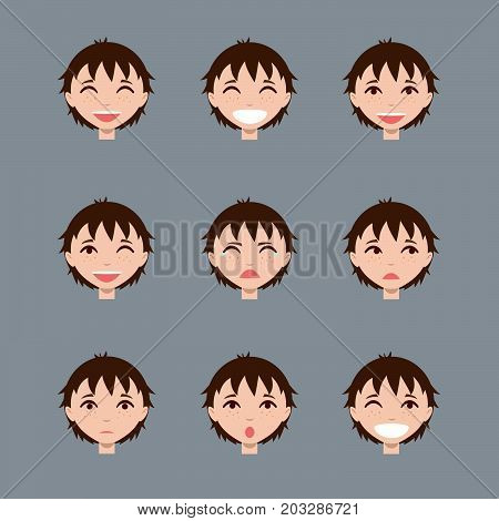 Set of male emoji characters. Cartoon style emotion icons. Isolated dark-haired boys avatars with different facial expressions. Flat illustration men emotional faces. Vector.