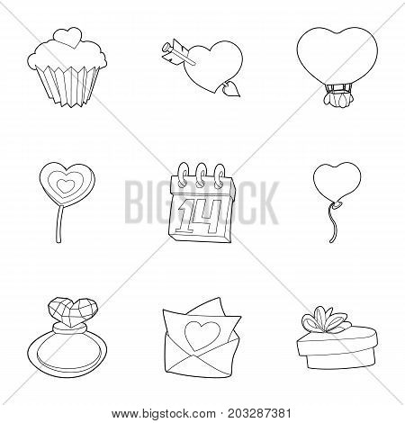 Gift for lovers day icons set. Outline set of 9 gift for lovers day vector icons for web isolated on white background