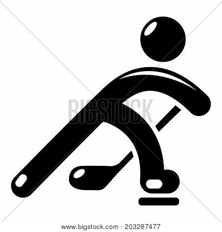 Hockey player icon . Simple illustration of hockey player vector icon for web design isolated on white background