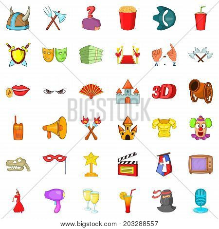 Gallery icons set. Cartoon style of 36 gallery vector icons for web isolated on white background
