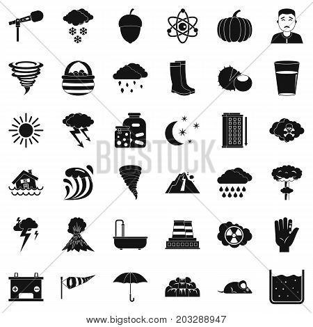 Tornado icons set. Simple style of 36 tornado vector icons for web isolated on white background