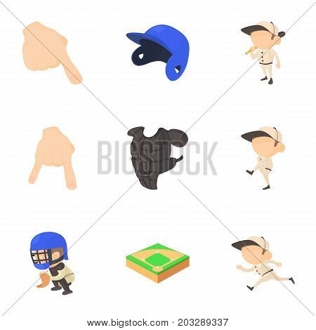 Baseball game icons set. Cartoon set of 9 baseball game vector icons for web isolated on white background