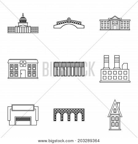 Front elevation icons set. Outline set of 9 front elevation vector icons for web isolated on white background