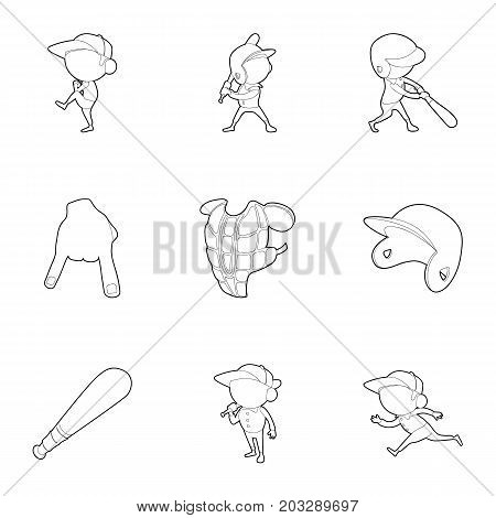 Baseball game icons set. Outline set of 9 baseball game vector icons for web isolated on white background