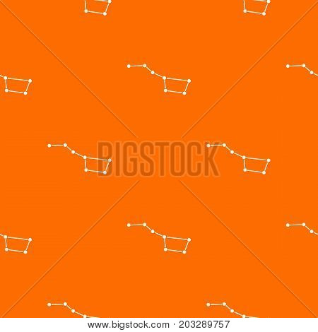 The Great Bear constellation pattern repeat seamless in orange color for any design. Vector geometric illustration