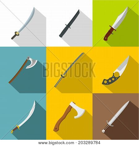 Cold steel arms icon set. Flat style set of 9 cold steel arms vector icons for web design