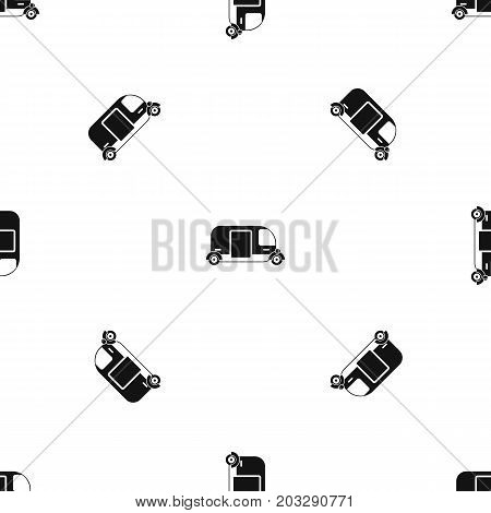 Thailand three wheel native taxi pattern repeat seamless in black color for any design. Vector geometric illustration