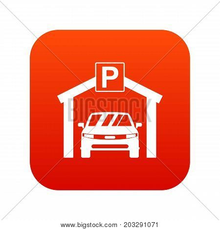 Car parking icon digital red for any design isolated on white vector illustration
