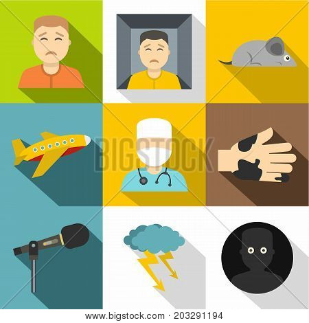 Various phobias icon set. Flat style set of 9 various phobias vector icons for web design