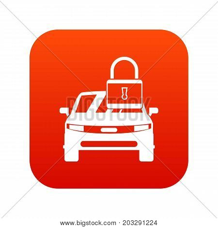 Car with padlock icon digital red for any design isolated on white vector illustration