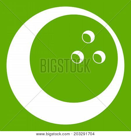 Marbled bowling ball icon white isolated on green background. Vector illustration