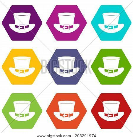 Top hat with buckle icon set many color hexahedron isolated on white vector illustration