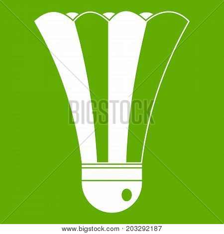 Black and white shuttlecock icon white isolated on green background. Vector illustration