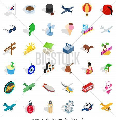 Touring icons set. Isometric style of 36 touring vector icons for web isolated on white background